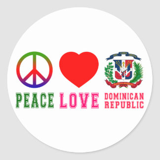 Peace Love Dominican Republic Classic Round Sticker