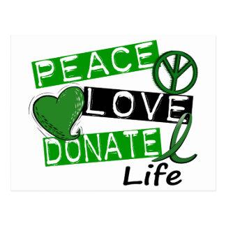 PEACE LOVE DONATE LIFE POSTCARDS