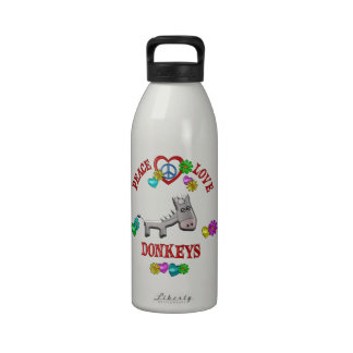 Peace Love Donkeys Reusable Water Bottle