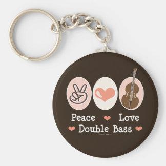 Peace Love Double Bass Key Chain