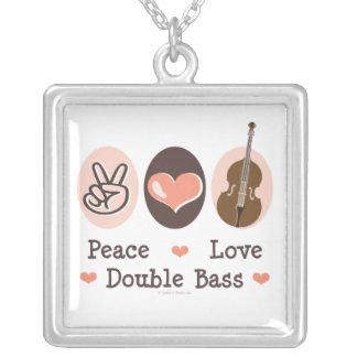 Peace Love Double Bass Necklace