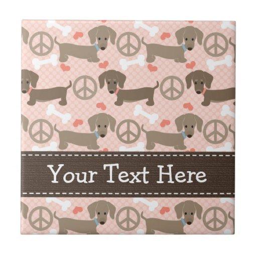 Peace Love Doxies Dachshund Ceramic Tile Trivet