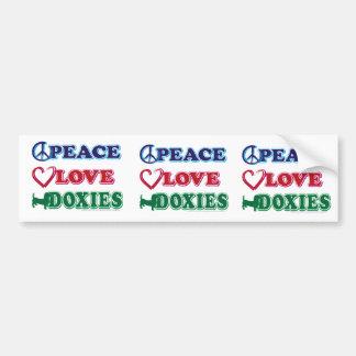 Peace-Love-Doxies- Dachsund Bumper Sticker