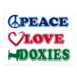 Peace-Love-Doxies- Dachsund Postcard