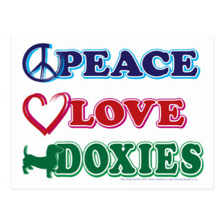Peace-Love-Doxies- Dachsund Postcard