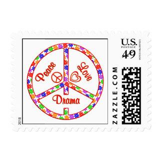 Peace Love Drama Postage Stamp