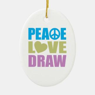 Peace Love Draw Ceramic Ornament
