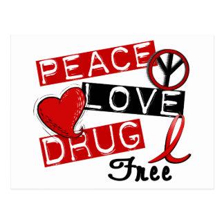 Peace Love Drug Free Postcard