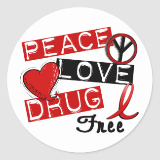 Peace Love Drug Free Round Stickers