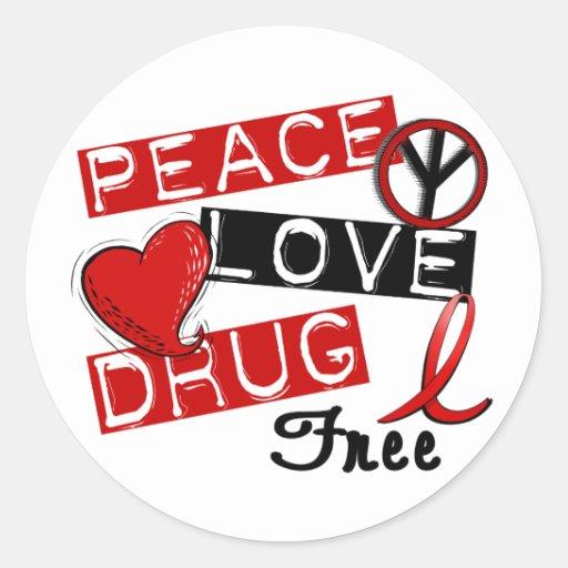 Peace Love Drug Free Round Stickers