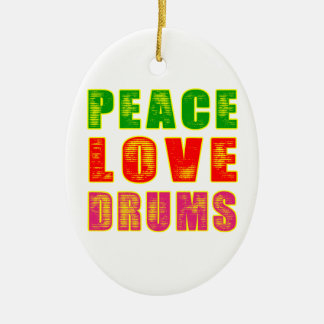 Peace Love Drum Ceramic Ornament