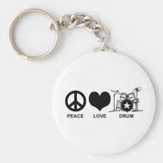 Peace Love Drum Keychain