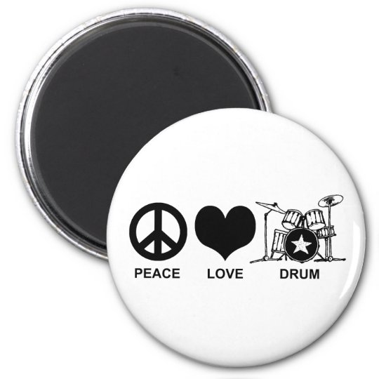 Peace Love Drum Magnet