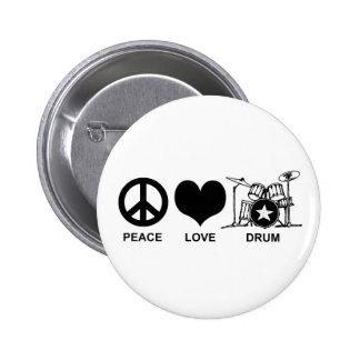 Peace Love Drum Pinback Buttons