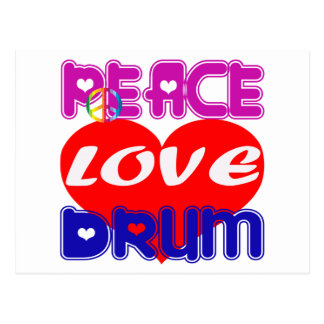 Peace Love drum Post Card
