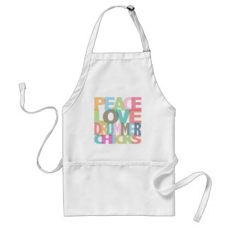 Peace Love Drummer Chicks Tees and Gifts Adult Apron