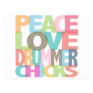 Peace Love Drummer Chicks Tees and Gifts Postcard