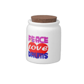 Peace Love drums Candy Jars