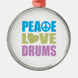 Peace Love Drums Christmas Tree Ornaments