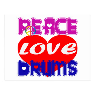 Peace Love drums Post Card