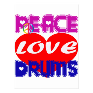 Peace Love drums Post Cards