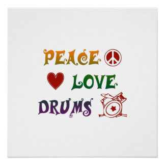 Peace Love Drums Rainbow Poster