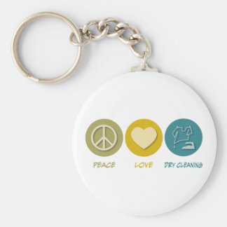 Peace Love Dry Cleaning Basic Round Button Keychain