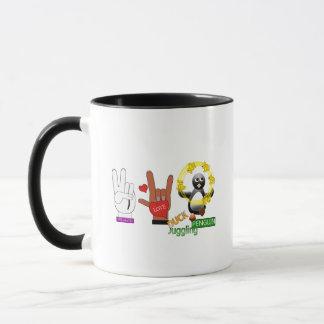 Peace Love DUCK Juggling PENGUIN.png Mug
