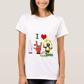 Peace Love DUCK Juggling PENGUIN.png T-Shirt