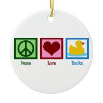 Peace Love Ducks Ceramic Ornament