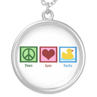 Peace Love Ducks Silver Plated Necklace