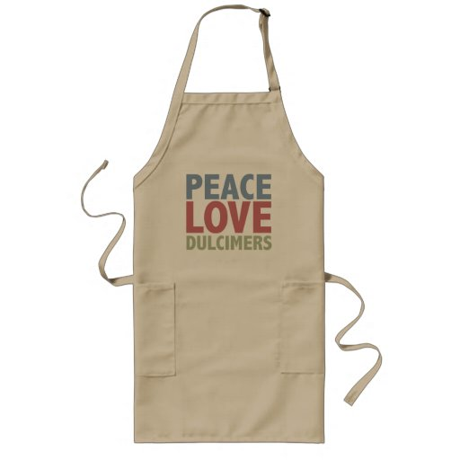 Peace Love Dulcimers Long Length Adult Apron