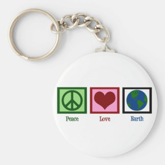 Peace Love Earth Basic Round Button Keychain
