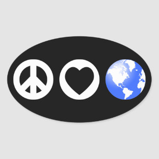 Peace Love Earth Oval Stickers