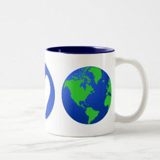 Peace Love Earth Two-Tone Coffee Mug