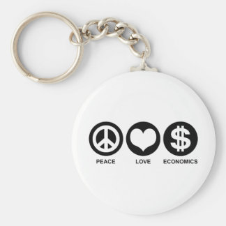 Peace Love Economics Basic Round Button Keychain