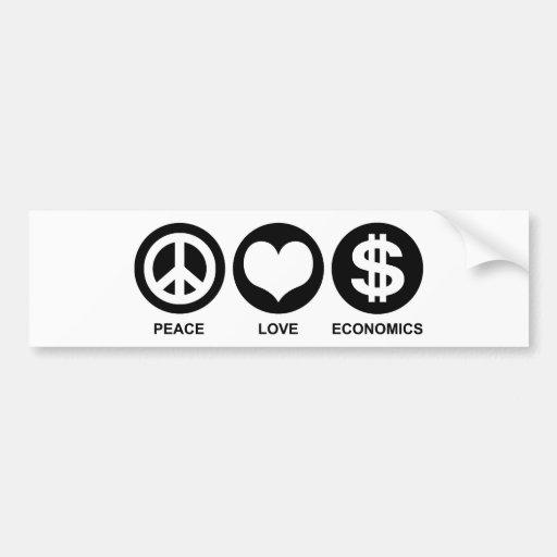 Peace Love Economics Bumper Sticker