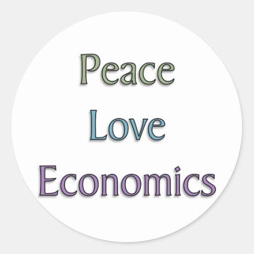 Peace, Love, Economics Classic Round Sticker