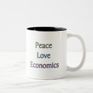 Peace, Love, Economics Two-Tone Coffee Mug