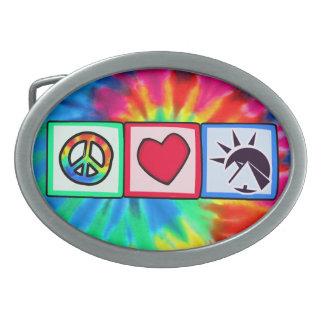 Peace, Love, Egyptians Oval Belt Buckles