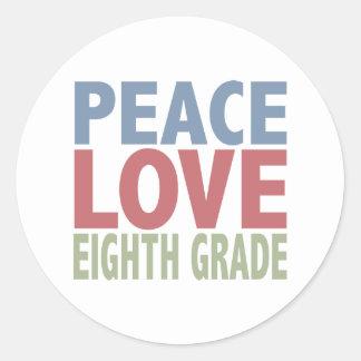 Peace Love Eighth Grade Classic Round Sticker