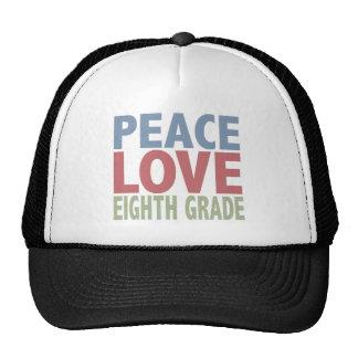 Peace Love Eighth Grade Hat