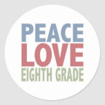 Peace Love Eighth Grade Stickers
