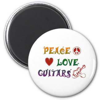 Peace Love Electric Guitars rainbow 2 Inch Round Magnet