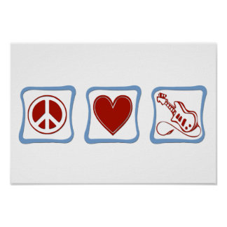 Peace Love Electric Guitars squares Poster
