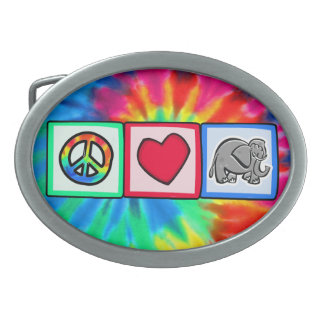 Peace, Love, Elephants Oval Belt Buckles
