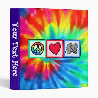 Peace, Love, Elephants 3 Ring Binder