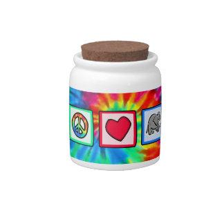 Peace, Love, Elephants Candy Jar