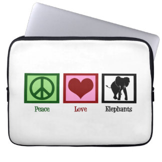 Peace Love Elephants Laptop Sleeves