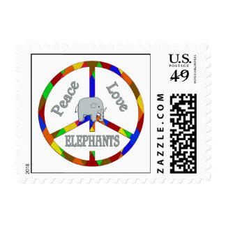 Peace Love Elephants Postage